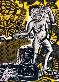 Juanito bañándose, 1961 Xilografía 150,5 x 104 cm