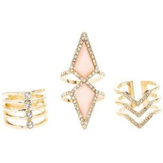 Charlotte Russe Stacked Rhinestone Rings - 3 Pack (1.700 HUF) ❤ liked on Polyvore featuring jewelry, rings, gold, band rings, chevron stackable rings, charlotte russe rings, triple band ring and rhinestone rings