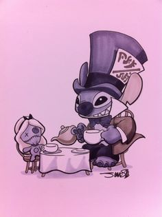 Stitch as the Mad Hatter, and Scrump as Alice! This would be a cute Halloween poster.