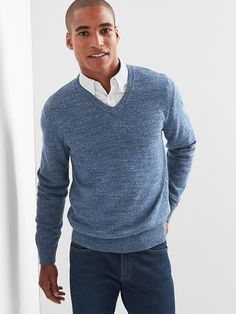 Gap Mens Cotton Heather V-Neck Sweater Blue Heather