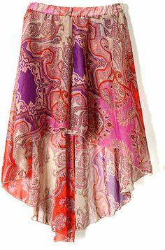 Purple Tribal Print Dipped Hem Elastic Waist Skirt  The splash of color on this skirt makes me delighted.