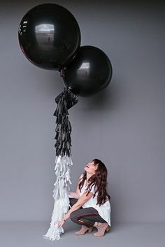 modern black and white party balloons.