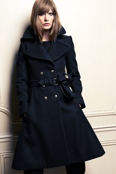Double breasted navy blue belted wool coat
