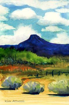 Cerro Pedernal, watercolor by Kim Attwooll