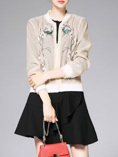 Shop Bomber Jackets - Beige Casual Polyester Stand Collar Bomber Jacket online. Discover unique designers fashion at StyleWe.com.