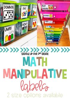 Math Manipulative Labels can help make all of your math supplies and manipulatives easily assessable to your students. These colorful math manipulative storage labels come with 60 different options and in 2 sizes!