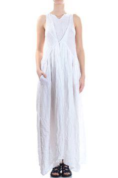 DANIELA GREGIS - Long Dress In Waved Linen Gauze :: Ivo Milan