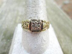 Vintage Men's Gold Ring - Men's 10k Gold Diamond Ring - 10k Men's Diamond Nugget Ring - Men's Gold Diamond Estate Ring - Nugget diamond Ring by GranvilleGallery on Etsy