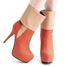 Womens Boots | Fantastic PU Zipper Brown Round Closed Toe Stiletto Super High Heel Boots - Hugshoes.com