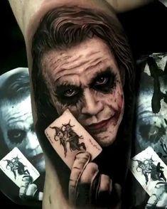 Joker Face Tattoo, Skull Girl Tattoo, Clown Tattoo, Leg Tattoo Men, Best Sleeve Tattoos, Tattoo Sleeve Designs, Forarm Tattoos, Leg Tattoos, Tatuaje Harley Quinn