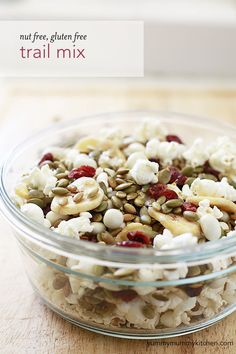 Healthy Snack Ideas for Soccer Games - Yummy Mummy Kitchen - Nut free, gluten free trail mix. I love snacking on this healthy mix, but it's also great to pack - Trail Mix Recipes, Snack Recipes, Cooking Recipes, Snacks Ideas, Kitchen Recipes, Nut Free Snacks, Healthy Snacks, Healthy Recipes, Homemade Trail Mix