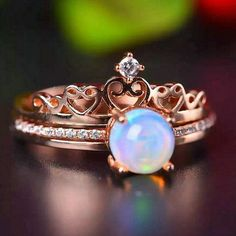 antique opal crown engagement ring in rose gold