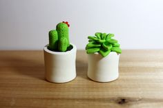 Polymer clay cactus and pots