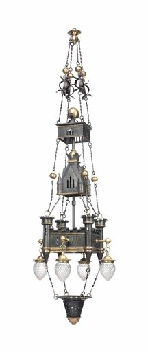 A gothic revival brass, cast iron and glass chandelier circa 1880. From the Paul Reeves Collection, The House Beautiful.