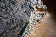 A pathway along the Noguera Ribagorzana river, which separates Aragon and Catalonia, Spain.