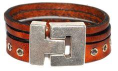 Leren armband ring cognac #Armbandenriemen