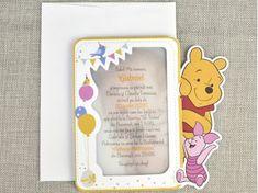 Invitatii botez Colectia Disney - Invitatie botez Winnie the Pooh cod 15729 for only ! Winnie The Pooh, Piglet, Disney, Character, Atelier, Pooh Bear, Disney Art