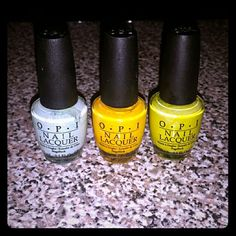 [3] OPI Bright Nail Polishes Three: Gargantuan Green Grape (Mint) Need Sunglasses? (Yellow) Did it On 'Em (Light Green)  Each used one time for ten nails OPI Other