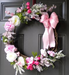 Pastel floral wreath for spring or summer. by Holidaycelebration