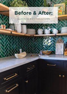 "Before & After: Bluegrass Bohemian Kitchen - Mercury Mosaics with Bari J's ""Curated Maximalist"" aesthetic. 》""She had a bohemian style kitchen board on Kitchen Board, Diy Kitchen, Kitchen Interior, Kitchen Cabinets, Black Cabinets, Kitchen Ideas, Eclectic Kitchen, Cheap Kitchen Remodel, Kitchen Remodeling"