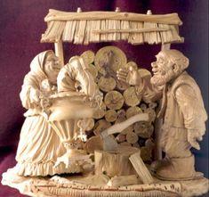 Yuri Firsanov's wood sculptures