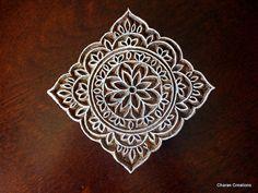 Hand Carved Indian Wood Textile Stamp Block- Square Floral Motif on Etsy, $21.14 CAD