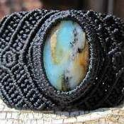 Andean Opal macrame bracelet. Adjustable with handmade brass button closure.