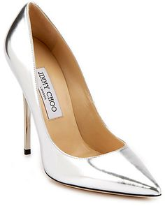 """Jimmy Choo """"Anouk"""" Silver Mirror Leather Pointy-Toe Pump"""