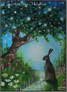 ACEO Print ••  Hare Where Stars Hang in the Trees by eveningstardust