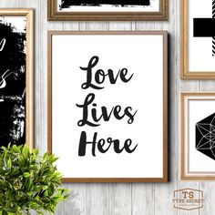 Printable home art family quote gift idea Love lives by TypeSecret