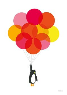 Mr Penguin With Pink Balloons Print