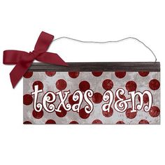 """$14.99Texas A&M Aggies Polka Dot Metal Sign 12"""" x 5"""". Made in the USA. Item can be purchased at the Frisco Mercantile located at 8980 Preston Road, Frisco, TX 75034 or at the Richardson Mercantile 101 S. Coit Road, Richardson, TX 75080. Item can also be purchased directly from me and shipped.  Email or call for additional information texasfirepony@gmail.com  806-576-6393. #texasfirepony #friscomerc #friscomercantile #friscomercantilefriscotexas #richardsonmercantile #madeinusa #madeintheusa…"""
