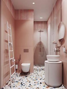 Pink bathroom with terrazzo floor // vintage inspired pink bathrooms Bathroom Tile Designs, Bathroom Interior Design, Bathroom Ideas, Bathroom Images, Bathroom Inspo, Bad Inspiration, Bathroom Inspiration, Deco Rose, Turbulence Deco