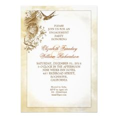very cute and romantic engagement party - shower invitations with conceptual 'love birds preparing their nest' design.