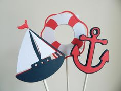 6 Nautical Centerpiece Sticks, Nautical Table Decor, Sailboat Cupcake Toppers, Anchor Cupcake Toppers by 2muchpaper on Etsy https://www.etsy.com/listing/194536402/6-nautical-centerpiece-sticks-nautical