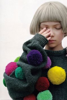 Pom Pom model ~ decidedly quirky! Love this forest green with the pops of colour in the pom poms