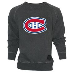 Old Time Hockey Montreal Canadiens Grant Lace Primary Logo Crew Sweatshirt - Charcoal