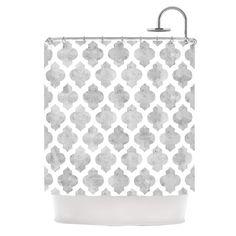 "Amanda Lane ""Gray Moroccan"" Grey White Shower Curtain | KESS InHouse"