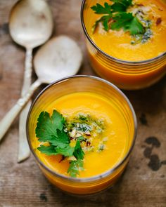 Carrot soup and almond-parsley pesto