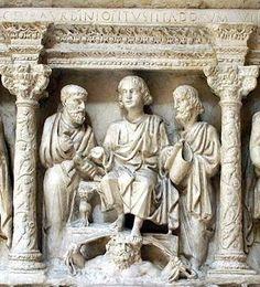 Cristo dando la ley a Pedro y Pablo - Sarcófago de Junio Basso - Siglo IV