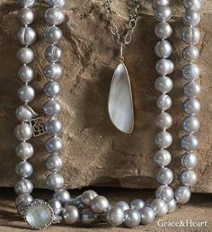 Luster pearls necklaces.  62 inches of beautiful pearls.   Gray shown.  Also available in blush and white.  $99