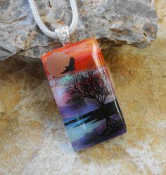 Tree Reflection Dichroic Pendant Landscape Pendant by GlassCat