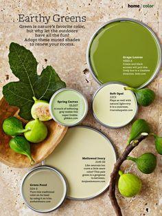 Earthy Greens - Grape Leaves (BH&G 400D-6), Spring Cactus (GLG07), Soft Opal (22C3), Green Pond (D34-5), Mellowed Ivory (2149-50).