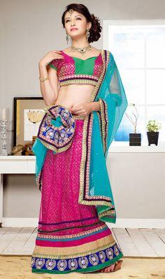 Classic Pink Net Embroidered Choli Skirt Price: Usa Dollar $121, British UK Pound £71, Euro89, Canada CA$131 , Indian Rs6534.