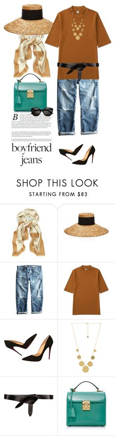 """""""My boyfriend's back, and I'm gonna take his jeans..."""" by clothesmonkey ❤ liked on Polyvore featuring Tory Burch, Eugenia Kim, AG Adriano Goldschmied, Uniqlo, Christian Louboutin, Gorjana, Étoile Isabel Marant, EASTON and Mark Cross"""