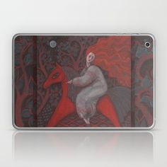 Red Horse, redhaired woman, magic night forest, folk art Laptop & iPad Skin…