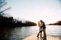 Sunset Engagement Photo Session || Dock || Lake || Kiss || Memphis Engagement Photographer || Christen Jones Photography