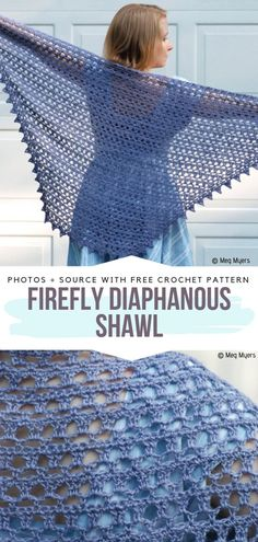 Hues of Blue Crochet Shawls Free Patterns - Free Crochet Patterns Firefly Diaphanous Shawl Free Crochet Pattern. This is a recommendations for those of you, who just started the crocheting journey. Crochet Shawl Free, Crochet Gratis, Crochet Shawls And Wraps, Crochet Scarves, Crochet Clothes, Crochet Hooks, Knit Crochet, Crochet Stitches, Crochet Triangle