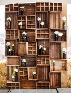 Rustic wooden crates stacked up. Photo by Chris and Kristen Photography