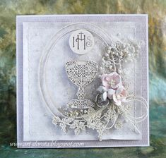Dorota_mk: komunia First Communion Cards, Baptism Cards, First Holy Communion, New Baby Cards, Handmade Decorations, Flower Cards, Christening, New Baby Products, Decorative Boxes